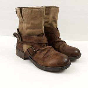 Roxy 'STORM' Brown Faux/Vegan Leather Moto Boots
